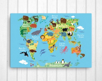 Playroom canvas etsy animal world map canvas nursery canvas art playroom art nursery art canvas gumiabroncs Image collections