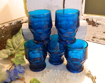 Set of 5 Vintage Deep Sea Blue Georgian Glasses