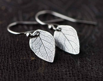 Sterling Silver Leaf Earrings | Silver Dangle Earrings for Women | Women's Jewelry | Gifts for Mom | Handmade Jewelry by Burnish