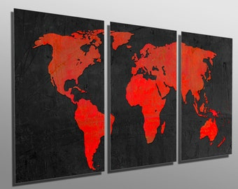 World map wall art metal etsy metal print black and red world map 3 panel split triptych multi metal wall art hd aluminum prints for home decor interior design gumiabroncs Image collections