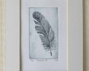Original feather limited edition etching print black and white monochrome
