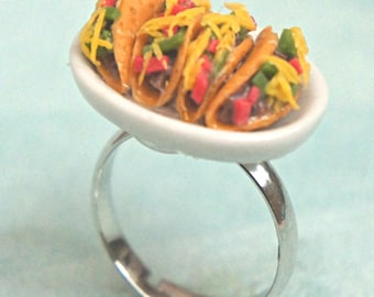 tacos ring- miniature food jewelry, food ring
