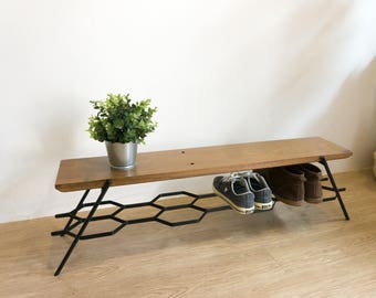 Small loft bench shoe storage, entryway bench