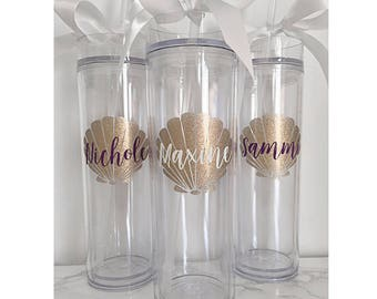 Custom skinny tumblers, bridal set, personalized cups, bridal shower gift, wedding gift, wedding favors, seashell cup, tropical cups