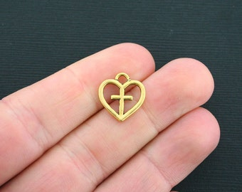 12 Heart Charms Antique Gold Tone Cross in Heart Charms - GC451
