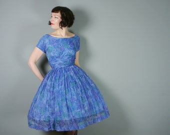 50s BLUE dress by Algo - light CHIFFON with full skirt and nipped waist - Mid Century party SUMMER gown - xs