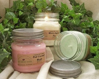 3 SOY CANDLES - Choice - Vanilla, Cinnamon, Apple, Pumpkin, Fresh, Clean, Citrus, Floral, Fruit, Spice, Herbal - Soy Candle Gift Pack