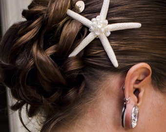 Starfish Wedding Hair Clip with Freshwater Pearls and Swarovski Elements