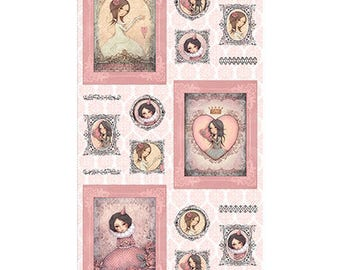 All For Love Panel - Santoro London - Mirabelle - Quilting Treasures (25845 -D Lt. Rose) - 1 Panel (24x44)