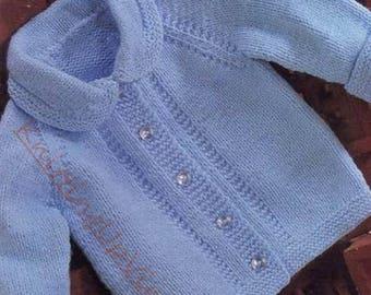 "Baby Knitting Pattern Cardigan Jacket 19-22"" Double Knit pdf"