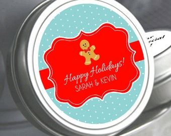 """12 Personalized Gingerbread Mint Tins Favors - Need a different quantity? Click on the """"choose total"""" tab to see all pricing"""
