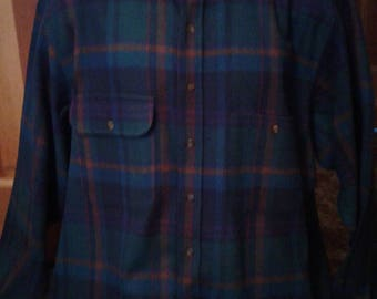 Pendleton wool shirt,made in US,leather collar
