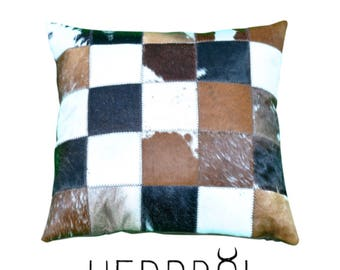 "Cowhide Patchwork Pillow - 17.5""x17.5"" Gorgeous Cow Hide Hair On Cushion with Multi-colored Patterns Stitched in Square Tiles"