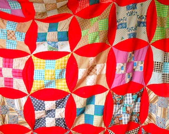 Vintage handmade hand stitched Quilt Top