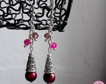 Pink Tiger eye and Swarovski crystals earrings