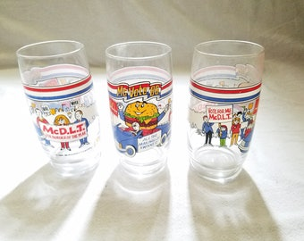 McDonald's Collectable McDLT Drinking Glasses Tumblers set of 3 McVote '86 Series Collector Political Memorabilia 1986 McDonalds