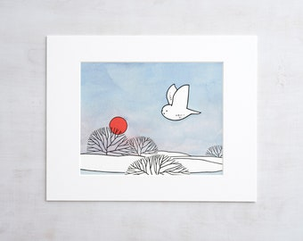 Snowy Owl Drawing Print - Red Sun Winter Illustration