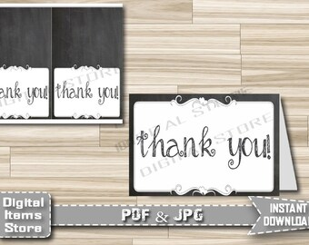 Thank You Card - Printable Thank You Card Chalkboard - Thank You Card for any occasion - Chalk Thank You Party Card - Instant Download - ch1