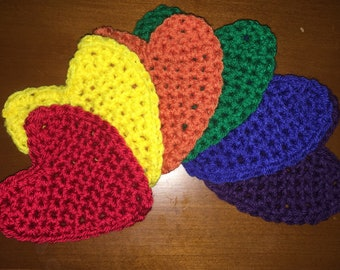 Set of 6 crochet heart coasters
