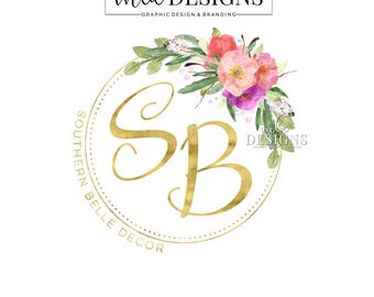 Gold Foil Logo - Premade Round Logo, FLoral and Feather Logo, Watercolor Boutique Logo, Bohemian Logo, Boutique, Flower Logo, Custom Logo