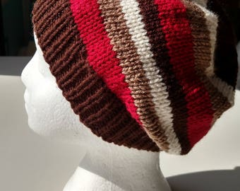 Chocolate Brown with Stripes Knitted Hat