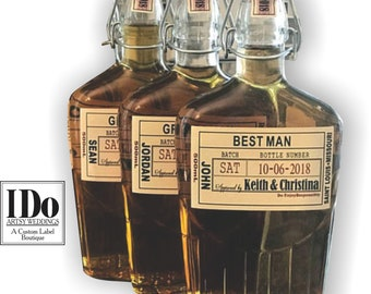 Liquor Flask Labels - Wedding Groomsman Whiskey Bottle Labels - Craft Liquor Labels - Custom Wedding Party Gifts - Just the Label