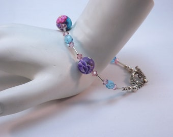 Handmade Purple, Pink and Blue Millefiori Floral Bracelet, Handmade Polymer Clay