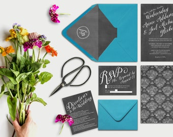 Wedding Invitations in Chalkboard Damask & Peacock Blue Envelopes w/ Liner + RSVP Cards / Damasks Rustic Chic Chalkboard Weddings / PRINTED