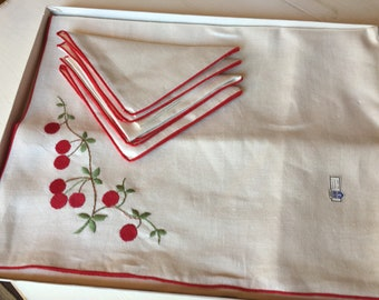 "Vintage Belgian Linen 40"" table cloth and napkin set unused in box embellished with cherry embroidery and red trim by Timely Linens"