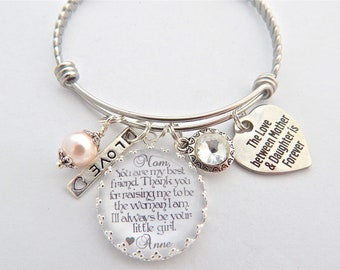 MOTHER Daughter Gift-Mother of the Bride Gift-Wedding Keepsake-Charm BRACELET Your my Inspiration, Glass Dome Bangle-Holiday Wedding Gift