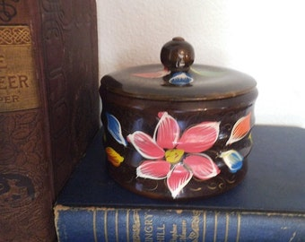Vintage Painted wooden lidded bowl ~ painted Flowers Mexico