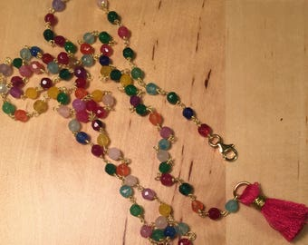Multicolor Necklace with Tassel