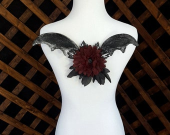 Dark Fairy Pixie Black and Silver Wings