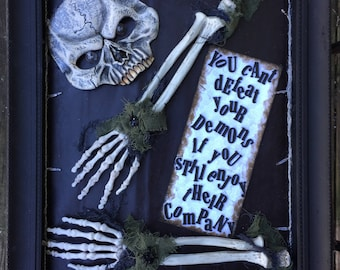 Unique Lightup Skull and Skelton Shadow Box Wall Decor