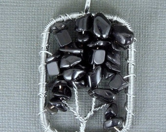 Silver Tree of Life Pendant-- Silver-Plated Rectangle Black Onyx Tree of Life Pendant (RK510B4-12)