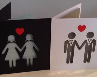 Modern Papercut Gay Wedding Marriage Civil Partnership Engagement or Anniversary Card Art Love Gift Present