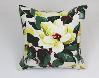 Decorative pillow crafted from vintage floral barkcloth.