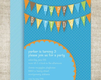 BANNER BIRTHDAY PARTY Invitations Boy Digital Printable Cards Blue and Orange Pendant - 81855553