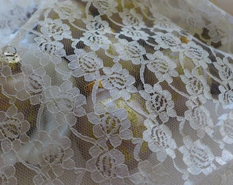 "Vintage Lace De stash Ecru Ivory Supply Lace remnant Craft sewing Supply 1 yard  45"" x 36"""