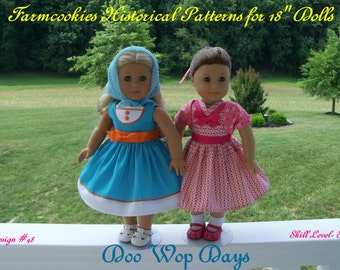 """PDF Sewing Pattern / Doo Wop Days/ 1950's  Pattern Fits American Girl® or Other 18"""" Doll"""