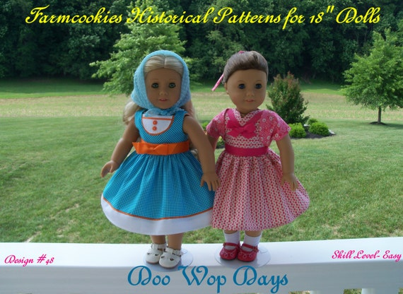 "PDF Sewing Pattern / Doo Wop Days/ 1950's  Pattern Fits American Girl® or Other 18"" Doll"