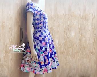 Alice in wonderland - short sleeve bardot dress - cute kawaii skater dress, fairy kei sleeved dress,  blue dress, fantasy dress -  BD1