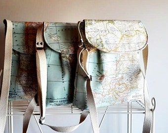 World Map Print Small  Diaper Bag , Tote Bag , Small Messenger Bag,  Shoulder Bag ,Everyday Purse