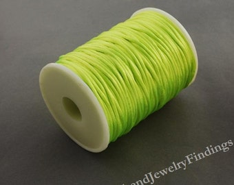 2 yd Neon  Fluorescent Yellow Nylon Cord -  Chinese Knotting cord -Kumihimo Macrame Beading Silky String - N030