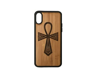 Egyptian Ankh iPhone X Case Cover by iMakeTheCase Bamboo Wood Cover + TPU Wrapped Edges Key of Life Hieroglyph Spiritual Symbols Twin Flame