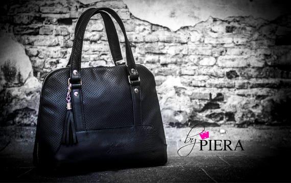 black leather handbag, handmade leather bag, leather purse, modern leather bag, ladies handbag, black handbag