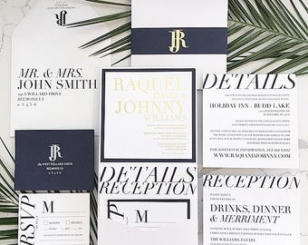 Evelyn Wedding Invitation Dramatic Large Pocketfold with Belly Band • Foil Invitation Card and Band • Shown in Navy, White and Gold