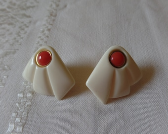 Vintage Lucite Earrings White and Coral