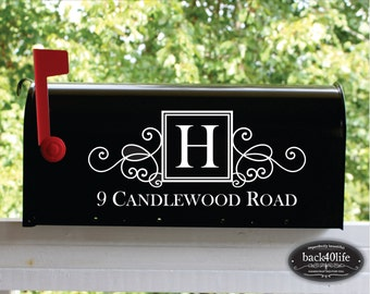SALE!!! SQUARE Swirly Monogram Mailbox Street Address Number Vinyl Decal (E-004b)