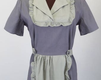 Vintage 40's MATERNITY Dress in Gray Cotton with Adjustable Waist and Faux Apron Size M / Medium Maid Costume